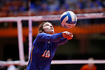 November 22, 2019; Rapid City, SD, USA; Emma McKay #10 of Sioux Falls O'Gorman bumps against Huron at the 2019 South Dakota State Volleyball Championships at the Rushmore Plaza Civic Center in Rapid City, S.D. (Richard Carlson/Inertia)