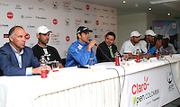 BOGOTA -COLOMBIA, 10-07-2013.  Conferencia de prensa que da apertura al torneo de tenis Claro Open Colombia ATP World Tour 250. De izquierda a derecha : Manuel Mate , presidente IMLA de Colombia Alejandro Falla ,Santiago  Giraldo , Diego Hernández de Alba ,Director de Mercadeo y Comunicaciones de Claro ,Juan Sebastián Cabal , Robert Farah .Hotel Radisson./ Press conference that gives tennis tournament opening Colombia Clear Open ATP World Tour 250. From left to right: Manuel Mate, president of Colombia's Alejandro Falla IMLA Santiago Giraldo, Diego Hernández de Alba, Director of Marketing and Communications of course, Juan Sebastian Cabal, Robert Farah. Radisson Hotel. <br />