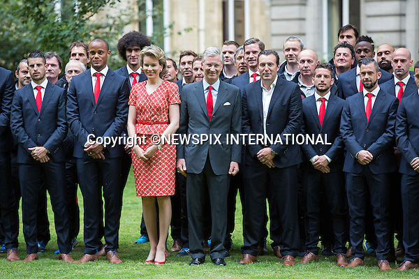 QUEEN MATHILDE AND KING PHILIPP<br /> meet members of the Belgian World Cup Football Team at the Royal Palace, Brussels_08/07/2014<br /> Mandatory Credit Photo: &copy;NEWSPIX INTERNATIONAL<br /> <br /> **ALL FEES PAYABLE TO: &quot;NEWSPIX INTERNATIONAL&quot;**<br /> <br /> IMMEDIATE CONFIRMATION OF USAGE REQUIRED:<br /> Newspix International, 31 Chinnery Hill, Bishop's Stortford, ENGLAND CM23 3PS<br /> Tel:+441279 324672  ; Fax: +441279656877<br /> Mobile:  07775681153<br /> e-mail: info@newspixinternational.co.uk