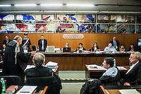 Da sinistra, la Corte composta dal giudice Renato Orfanelli, il presidente Rosanna Ianniello e il giudice Giulia Arcieri durante l'udienza di apertura del processo su Mafia Capitale, al Tribunale di Roma, 5 novembre 2015.<br /> From left, judge Renato Orfanelli, president Rosanna Ianniello and judge Giulia Arcieri during the opening audience of the trial on Mafia Capitale, at Rome's court, 5 November 2015.<br /> UPDATE IMAGES PRESS/POOL - AGF - Alessandro Serrano'˜