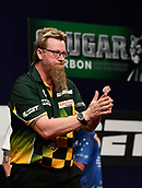 11th January 2018, Brisbane Royal International Convention Centre, Brisbane, Australia; Pro Darts Showdown Series; Simon Whitlock (AUS) thanks the fans in his 7-4 Quarter Final win against Ray O'Donnell (AUS)