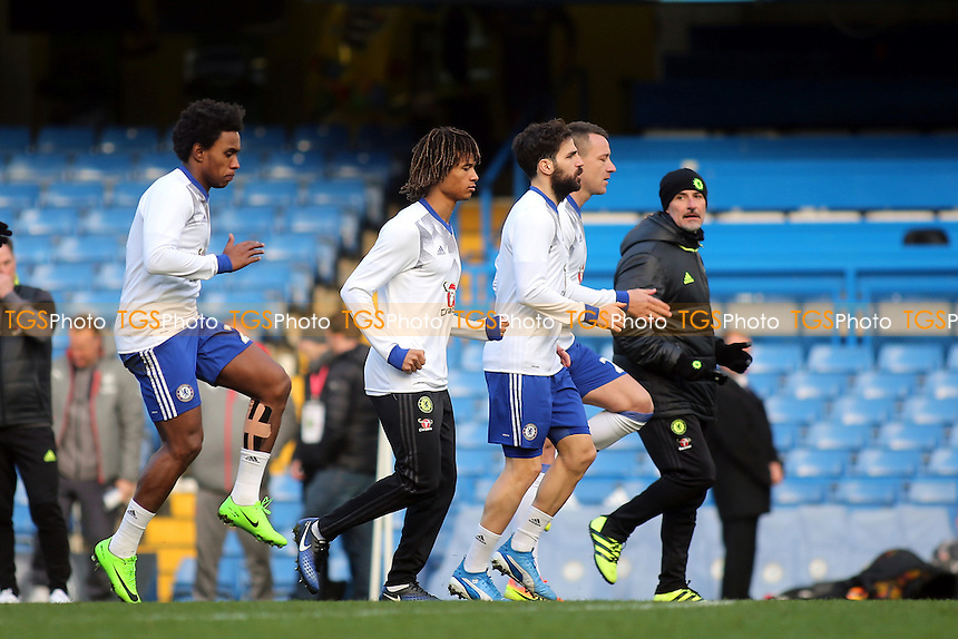 Chelsea's Nathan Ake trains on the pitch after the match during Chelsea vs Arsenal, Premier League Football at Stamford Bridge on 4th February 2017