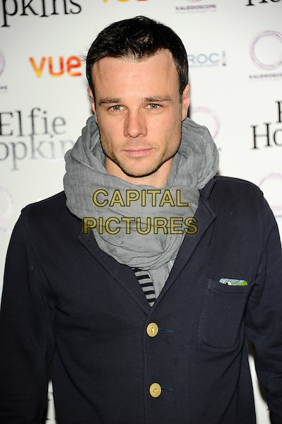 Rupert Evans.'Elfie Hopkins' premiere held at the Vue cinema- Arrivals London, England..April 16th, 2012.half length black navy blue jacket grey gray scarf.CAP/CJ.©Chris Joseph/Capital Pictures.