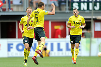 EMMEN - Voetbal, FC Emmen - AZ, De  Oude Meerdijk, Eredivisie, seizoen 2018-2019, 19-08-2018,  AZ speler Thomas Ouwejan juicht na de 1-2