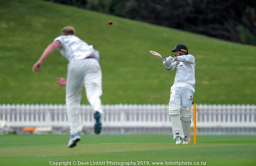 Wellington's Devon Conway hits a boundary off Kyle Jamiseon during day one of the Plunket Shield cricket match between the Wellington Firebirds and Auckland at Basin Reserve in Wellington, New Zealand on Friday, 8 November 2019. Photo: Dave Lintott / lintottphoto.co.nz