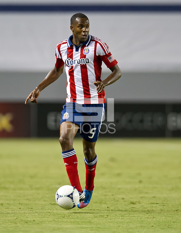 CARSON, CA - August 25, 2012: Chivas USA defender Adam Johansson (5) during the Chivas USA vs Seattle Sounders match at the Home Depot Center in Carson, California. Final score, Chivas USA 2, Seattle Sounders 6.