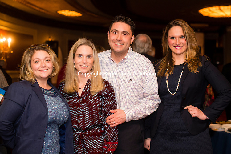 WATERBURY, CT- 23 February 2016-022316EC08-   Social Moments. Brie Sodano, Heather Farisello, Vincent Farisello and Waterbury Alderwoman Stephanie Cummings attended the Palace Theater's announcement of the 2016-2017 Broadway lineup. Erin Covey Republican-American