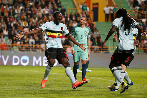 29.03.2016. Leiria, Portugal.  Romelu Lukaku of Belgium celebrates   pictured during the FIFA international friendly match between Portugal and Belgium as part of the preparation of the Belgian national soccer team prior to the UEFA EURO 2016  in Leiria, Portugal. joie