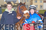 CONGRATS: Bryan Cooper (Blennerville) congratulating Ross Coakley (Glenbeigh) after he won the Lawlor Memorial Cup at the Ballyheigue Races on Sunday.   Copyright Kerry's Eye 2008