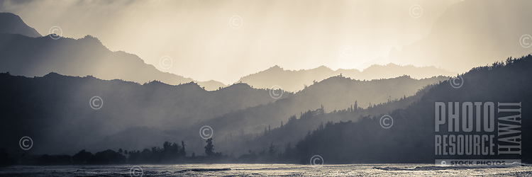 Dramatic light over the ridgelines behind Hanalei Bay on Kaua'i.