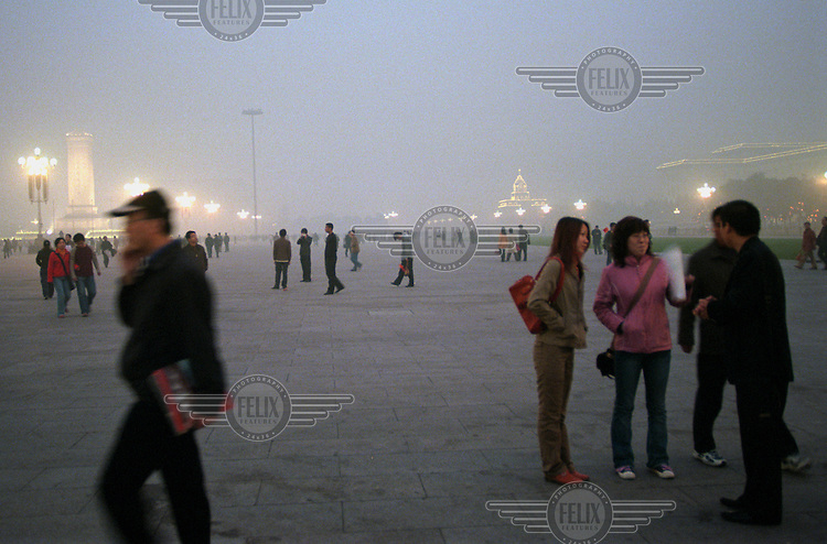 A shroud of smog envelopes Tiananmen Square. Seven of the ten most polluted cities in the world are in China.