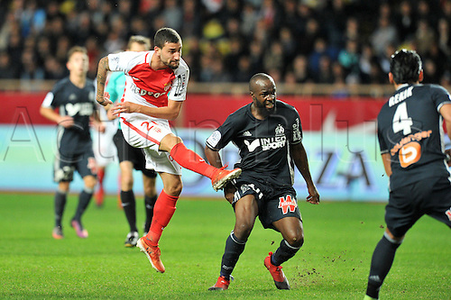 26.11.2016. Monaco, France. French League 1 football. Monaco versus Marseille.  10 LASSANA DIARRA (om) is beaten by the shot from Gabriel BOSCHILIA (asm)