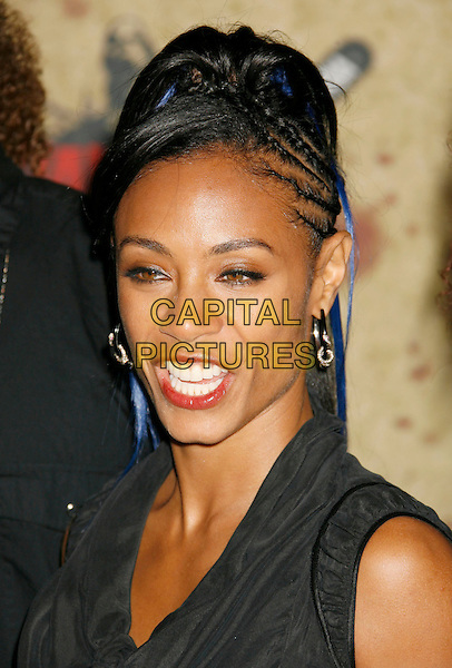 JADA PINKETT SMITH.Fuse Fangoria Chainsaw Awards held at The Orpheum Theatre, Los Angeles, California, USA - Arrivals.October 15th, 2006.Ref: ADM/RE.headshot portrait mouth open braids plaits blue hair.www.capitalpictures.com.sales@capitalpictures.com.©Russ Elliot/AdMedia/Capital Pictures.