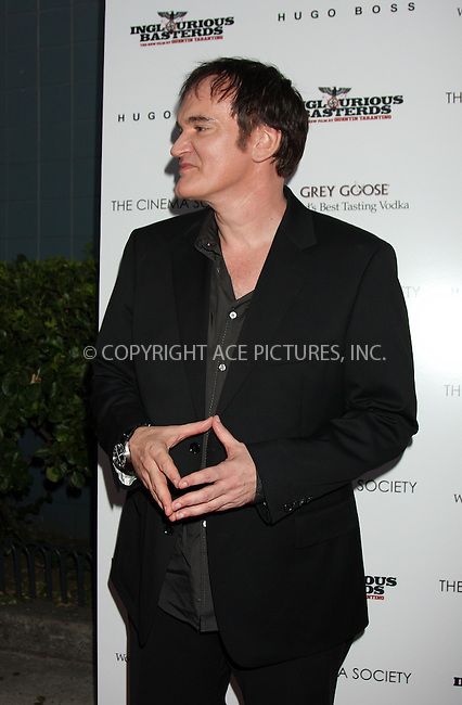 WWW.ACEPIXS.COM . . . . .  ....August 17 2009, New York City....Director Quentin Tarantino arriving at The Cinema Society & Hugo Boss screening of 'Inglourious Basterds' at the SVA Theater on August 17, 2009 in New York City.....Please byline: AJ SOKALNER - ACE PICTURES.... *** ***..Ace Pictures, Inc:  ..tel: (212) 243 8787 or (646) 769 0430..e-mail: info@acepixs.com..web: http://www.acepixs.com