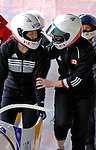 14 December 2006: Helen Upperton, from Canada (right) gets ready for a training run in preparation for the World Cup Bobsleigh Competition at the Olympic Sports Complex on Mount Van Hoevenburg  in Lake Placid, New York, USA.&amp;#xA;&amp;#xA;Mandatory Photo credit: Ed Wolfstein Photo<br />