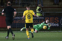 Fleetwood Town's Alex Cairns makes a save<br /> <br /> Photographer Rich Linley/CameraSport<br /> <br /> The EFL Sky Bet League One - Fleetwood Town v Oxford United - Saturday 12th January 2019 - Highbury Stadium - Fleetwood<br /> <br /> World Copyright &copy; 2019 CameraSport. All rights reserved. 43 Linden Ave. Countesthorpe. Leicester. England. LE8 5PG - Tel: +44 (0) 116 277 4147 - admin@camerasport.com - www.camerasport.com