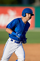 Dunedin Blue Jays Cullen Large (4) runs the bases after hitting a home run during a Florida State League game against the Clearwater Threshers on May 11, 2019 at Jack Russell Memorial Stadium in Clearwater, Florida.  Clearwater defeated Dunedin 9-3.  (Mike Janes/Four Seam Images)