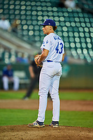 Reza Aleaziz (43) of the Ogden Raptors gets ready to deliver a pitch during a game against the Grand Junction Rockies at Lindquist Field on September 7, 2018 in Ogden, Utah. The Rockies defeated the Raptors 8-5. (Stephen Smith/Four Seam Images)