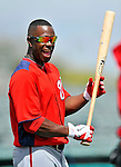 3 March 2011: Washington Nationals' outfielder Roger Bernadina warms up prior to a Spring Training game against the St. Louis Cardinals at Roger Dean Stadium in Jupiter, Florida. The Cardinals defeated the Nationals 7-5 in Grapefruit League action. Mandatory Credit: Ed Wolfstein Photo