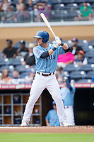 Jake Bauers (11) of the Durham Bulls at bat against the Buffalo Bisons at Durham Bulls Athletic Park on April 30, 2017 in Durham, North Carolina.  The Bisons defeated the Bulls 6-1.  (Brian Westerholt/Four Seam Images)