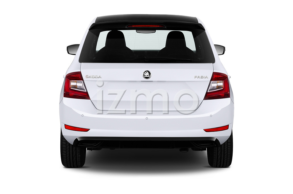 Straight rear view of 2018 Skoda Fabia Monte-Carlo 5 Door Hatchback Rear View  stock images