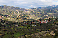 Magnificent hilly landscape of Cyprus on the way to Troodos mountains.