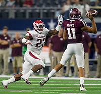 Hawgs Illustrated/Ben Goff<br /> Dre Greenlaw, Arkansas linebacker, pressures Kellen Mond, Texas A&M quarterback, in the 4th quarter Saturday, Sept. 29, 2018, during the Southwest Classic at AT&T Stadium in Arlington, Texas.