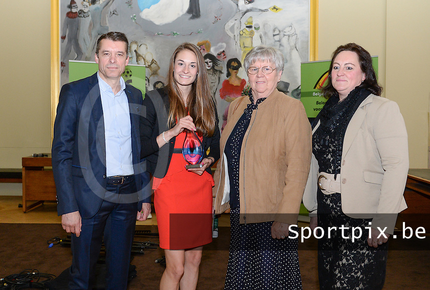 20150529 – OOSTENDE , BELGIUM : Tessa Wullaert and Family  pictured with Tessa Wullaert (middle) , Father (left) , grandmother (middle) , mother (right) during  the 1st edition of the Sparkle  award ceremony , Friday 29 May 2015, in Oostende . The Sparkle  is an award for the best female soccer player during the season 2014-2015 comparable to the Golden Shoe / Gouden Schoen / Soulier D'or for Men . PHOTO DAVID CATRY