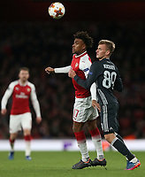 Arsenal's Alex Iwobi and CSKA Moscow's Konstantin Kuchaev<br /> <br /> Photographer Rob Newell/CameraSport<br /> <br /> UEFA Europa League Quarter-Final First Leg - Arsenal v CSKA Moscow - Thursday 5th April 2018 - The Emirates - London<br />  <br /> World Copyright &copy; 2018 CameraSport. All rights reserved. 43 Linden Ave. Countesthorpe. Leicester. England. LE8 5PG - Tel: +44 (0) 116 277 4147 - admin@camerasport.com - www.camerasport.com