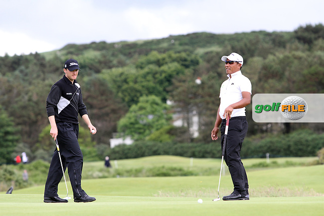 Thongchai Jaidee (THA) and Michael Hoey (NIR) on the 12th on Day 2 of the 2012 Irish Open at Royal Portrush Golf Club, Portrush, Co.Antrim, 29/6/12...(Photo Jenny Matthews/www.golffile.ie)