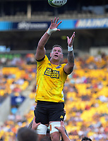 Scott Scrafton goes up for lineout ball during the Super Rugby match between the Hurricanes and Sharks at Sky Stadium in Wellington, New Zealand on Saturday, 15 February 2020. Photo: Dave Lintott / lintottphoto.co.nz