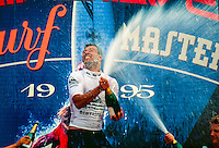 Sunny Garcia (HAW) celebrating after winning the 1995 Quiksilver Pro France at the Grand Plage, Biarritz in the South West of France. Photo: joliphotos.com