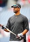 19 June 2011: Baltimore Orioles' first baseman Derrek Lee awaits his turn in the batting cage prior to a game against the Washington Nationals at Nationals Park in Washington, District of Columbia. The Orioles defeated the Nationals 7-4 in inter-league play, ending Washington's 8-game winning streak. Mandatory Credit: Ed Wolfstein Photo