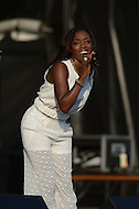 Largo, MD - July 12, 2014: London born Grammy Award winning singer/songwriter Estelle performs at the 1st annual International Festival at the Largo Town Center in Largo, MD, July 12, 2014.  (Photo by Don Baxter/Media Images International)