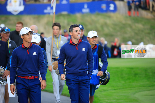 Rory McIlroy ( Team Europe) at the Ryder Cup, Le Golf National, Paris, France. 27/09/2018.<br /> Picture Phil Inglis / Golffile.ie<br /> <br /> All photo usage must carry mandatory copyright credit (© Golffile | Phil Inglis)