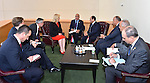 Egypt's president Abdel Fattah Al Sisi meets with Croatian President Kolinda Grabar-Kitarovic, at United Nations headquarters in Manhattan, New York, September 25, 2015. More than 150 world leaders are expected to attend the U.N. Sustainable Development Summit from September 25-27 at the United Nations in New York to formally adopt an ambitious new sustainable development agenda a press statement by the U.N. stated. Photo by Egyptian President Office