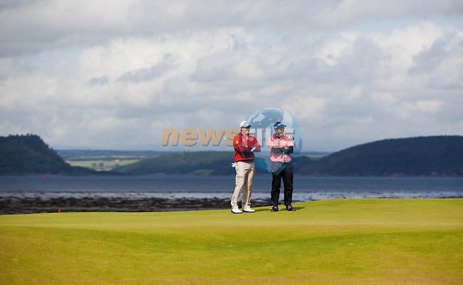 Lee Westwood and Edoardo Molinari survey the third green during the first days play of the Barclays Scottish Open, played over the links at Castle Stuart, Inverness, Scotland from 7th to 10th July 2011:  Picture Stuart Adams /www.golffile.ie  7th July July 2011