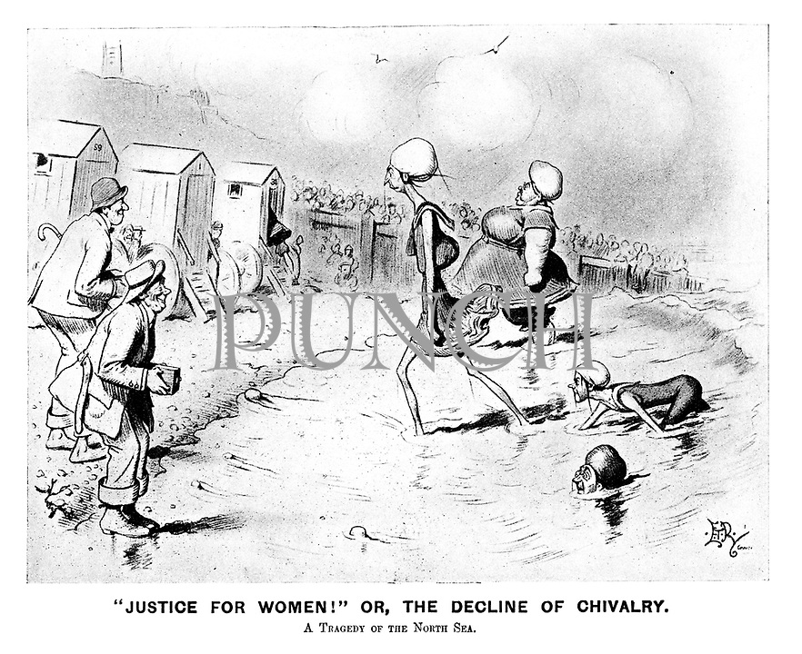 """Justice for Women!"" Or, the decline of chivalry. A tragedy of the North Sea. (an Edwardian cartoon shows proud Suffragettes at the beach emerging from the sea unashamed as men ogle them and their bathing machines wait on the sand)"