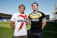 PICTURE BY VAUGHN RIDLEY/SWPIX.COM...Rugby League - International Origin - England v Exiles Shirt Launch - Halliwell Jones Stadium, Warrington, England - 28/04/11...England's Ben Westwood and Exiles Joel Monaghan launch the playing shirts to be worn in the International Origin Match at Headingley on June 10th, 2011.