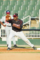 Kannapolis Intimidators first baseman Keon Barnum (35) catches the ball during the South Atlantic League game against the Rome Braves at CMC-Northeast Stadium on August 25, 2013 in Kannapolis, North Carolina.  The Intimidators defeated the Braves 9-0.  (Brian Westerholt/Four Seam Images)