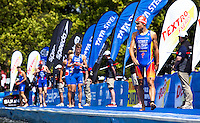 07 AUG 2011 - LONDON, GBR - Javier Gomez (ESP) (right) concentrates on the swim as he walks along the pontoon to his position for the start of the men's round of triathlon's ITU World Championship Series (PHOTO (C) NIGEL FARROW)