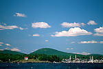 View of Camden Harbor and village, Camden, Maine, USA