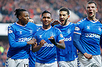 01.12.2019 Rangers v Hearts: Alfredo Morelos celebrates his goal with Joe Aribo, Connor Goldson and Borna Barisic