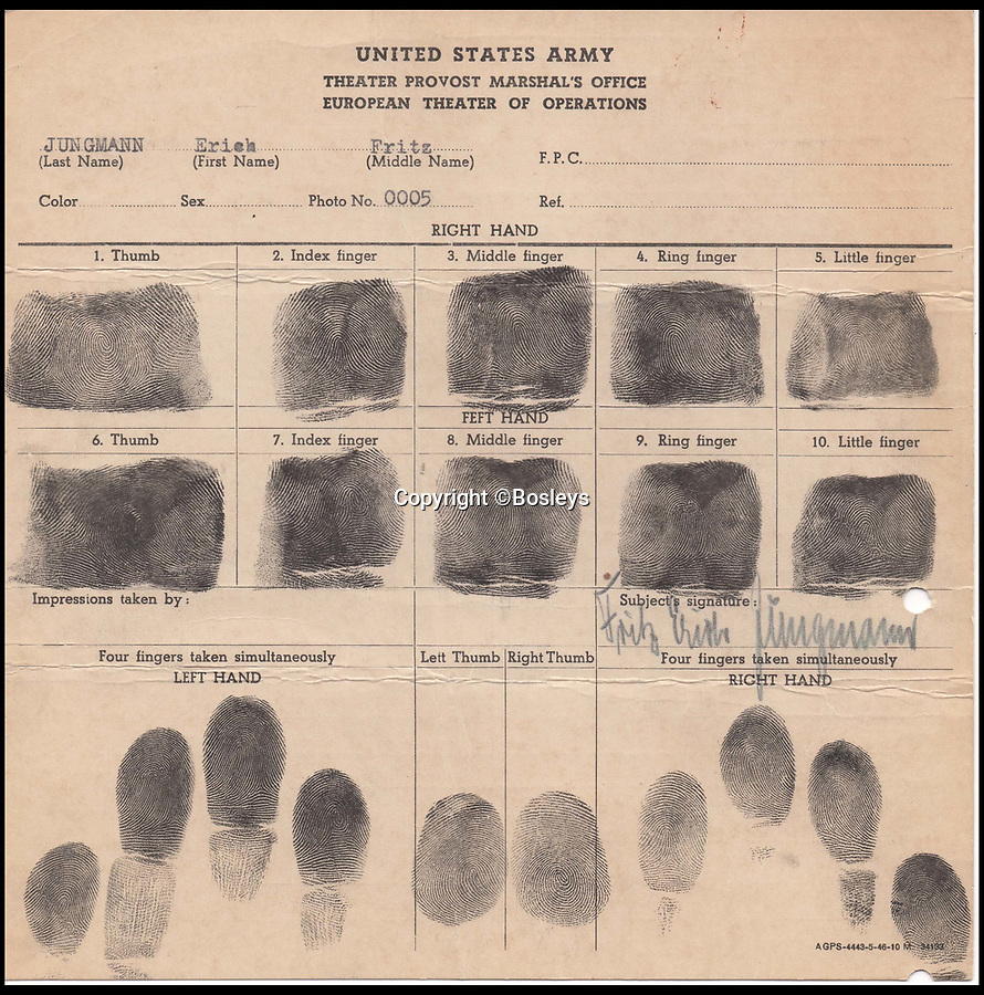 BNPS.co.uk (01202 558833)Pic: Bosleys/BNPS<br /> <br /> Suspect Erich Jungmann's fingerprint file.<br /> <br /> Paper Trail...Sqn Ldr frank McKenna's meticulous investigation is revealed in the fascinating dossier.<br /> <br /> Remarkable top secret documents relating to the investigation into the murder of 50 prisoners of war who took part in the Great Escape have come to light.<br /> <br /> The papers made up a dossier put together by the RAF Special Investigation Branch which had the job of finding the German killers of the Allied airmen who took part in the high-profile escape.<br /> <br /> The documents, that include custody mugshot photos and fingerprints of Gestapo suspects, have been put up for sale through Bosley's Auctioneers.