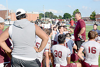 Graham Thomas/Siloam Sunday<br /> Siloam Springs head coach Brandon Craig visits with the Panthers after the Southwest Elite 7 on 7 Showcase at Shiloh Christian on July 12. The Panthers open fall practice on Monday afternoon at Panther Stadium.