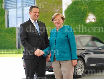 June 15-17,Chancellery,Berlin,Germany<br /> Estonian Prime Minister Juri Ratas is welcomed by German Chancellor Angela Merkel