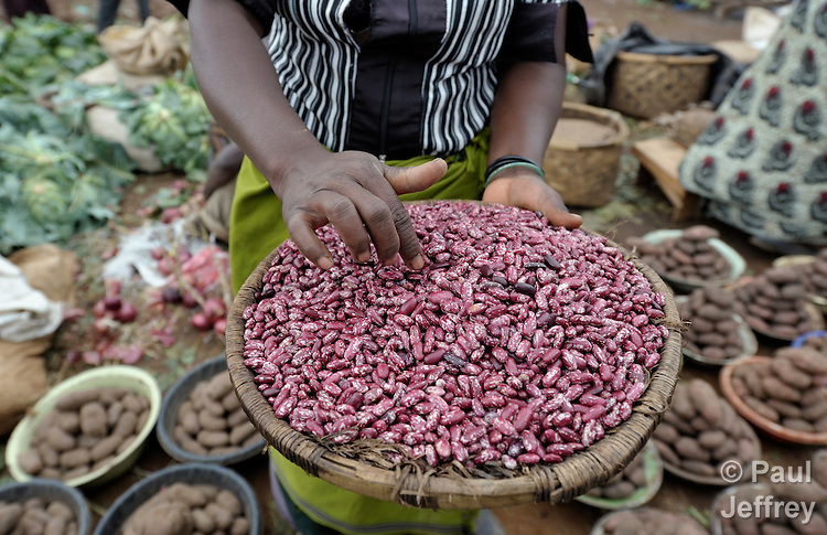 Beans being sold in a market in Dedza, Malawi, along the border with Mozambique.
