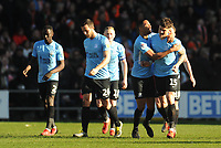 Southend United's Rob Kiernan (right) celebrates scoring the opening goal with team-mates<br /> <br /> Photographer Kevin Barnes/CameraSport<br /> <br /> The EFL Sky Bet League One - Blackpool v Southend United - Saturday 9th March 2019 - Bloomfield Road - Blackpool<br /> <br /> World Copyright © 2019 CameraSport. All rights reserved. 43 Linden Ave. Countesthorpe. Leicester. England. LE8 5PG - Tel: +44 (0) 116 277 4147 - admin@camerasport.com - www.camerasport.com