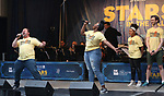 Brian Ray Norris, Jai'Len Christine, Brynn Williams and Alex Gibson performing at the United Airlines Presents: #StarsInTheAlley Produced By The Broadway League on June 1, 2018 in New York City.