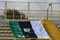BOGOTÁ -COLOMBIA, 12-08-2018: Una bandera de la Equidad es vista durante el encuentro entre La Equidad y Deportivo Pasto por la fecha 4 de la Liga Águila II 2018 jugado en el estadio Metropolitano de Techo de la ciudad de Bogotá. / A Equidad's flag is seen during match between La Equidad and Deportivo Pasto for the date 4 of the Aguila League II 2018 played at Metropolitano de Techo stadium in Bogotá city. Photo: VizzorImage/ Gabriel Aponte / Staff